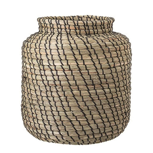 Hand Woven Natural + Black Seagrass Basket