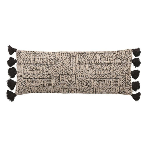 Black + Natural Cotton Lumbar Pillow