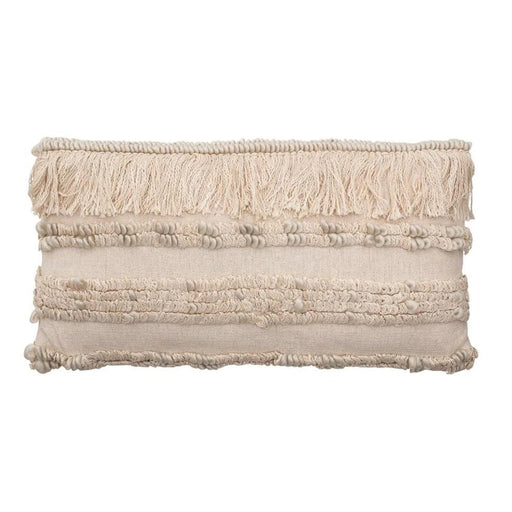 Cream Woven Wool Blend Lumbar Pillow with Fringe