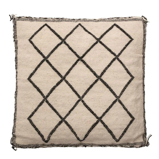 "20"" Square Pillow w/ Tassels, Black & Natural"