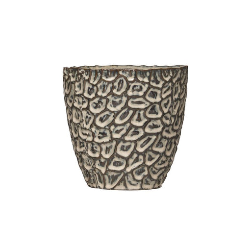 Embossed Stoneware Pot