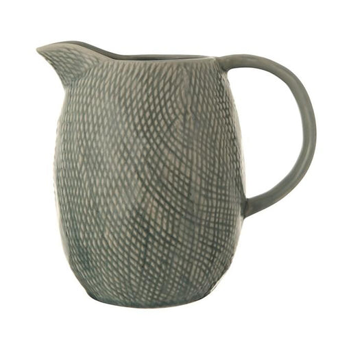 Blue Embossed Stoneware Pitcher - Greenhouse Home