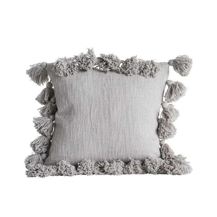 Gray Cotton Pillow with Tassels - Greenhouse Home