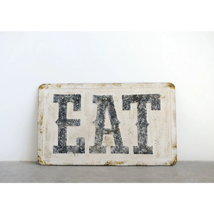 "Distressed Metal Wall Decor - ""Eat"" - Greenhouse Home"