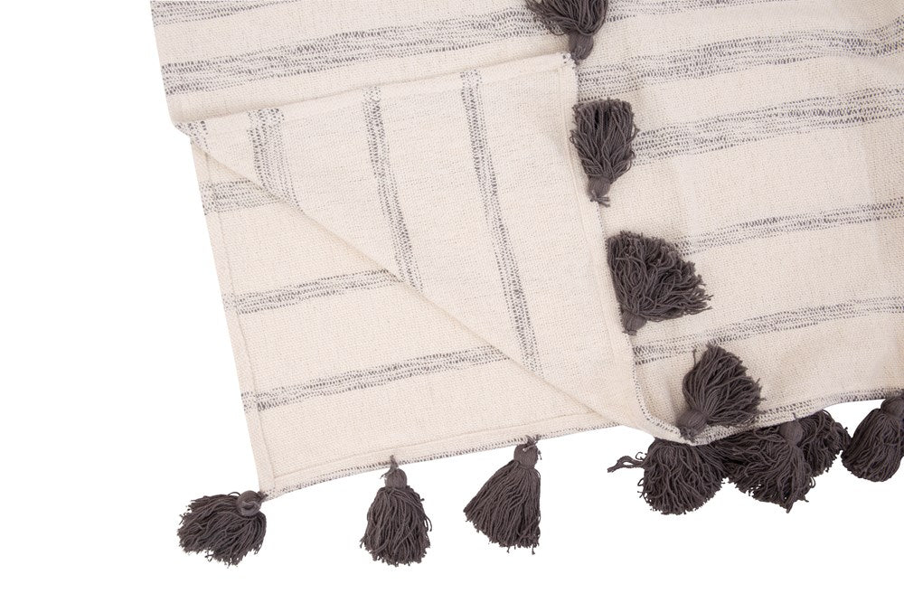 White + Gray Woven Cotton Throw - Greenhouse Home
