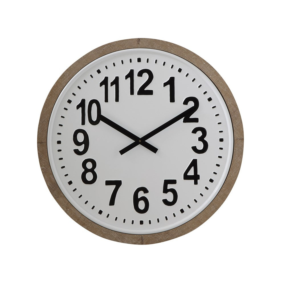 Round Wood Framed Metal Wall Clock - Greenhouse Home