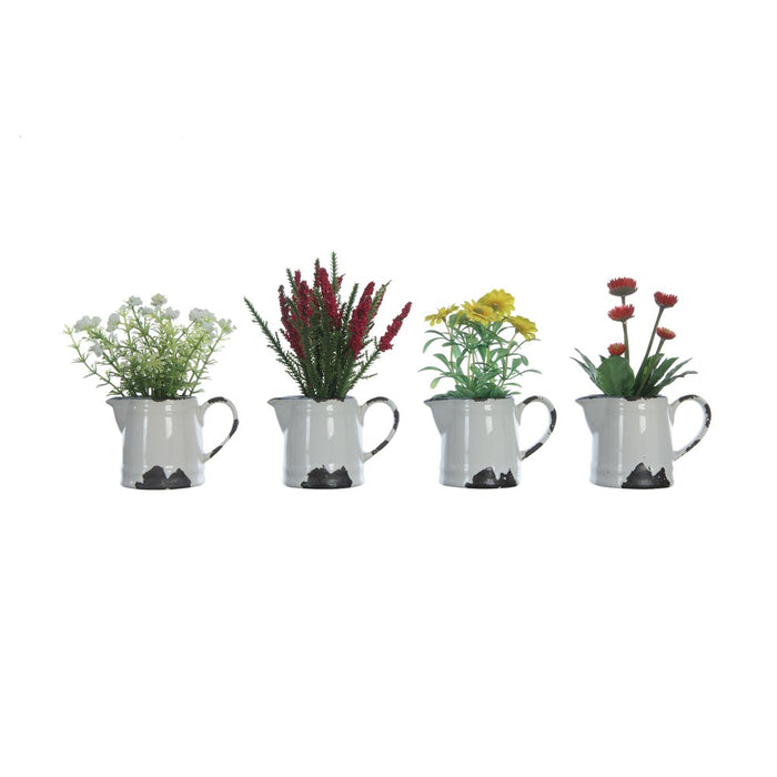Flowers In Distressed Ceramic Pitcher - Greenhouse Home