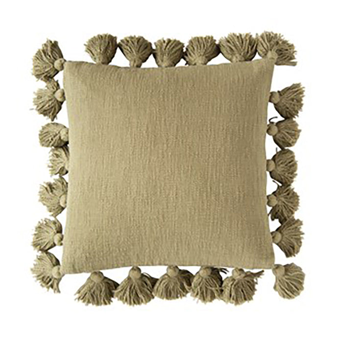 Cotton Pillow with Tassels - Greenhouse Home