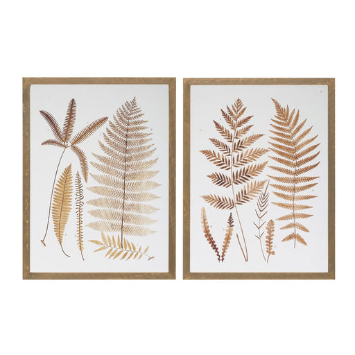 Wood Framed Glass Wall Decor with Decaled Fern Fronds