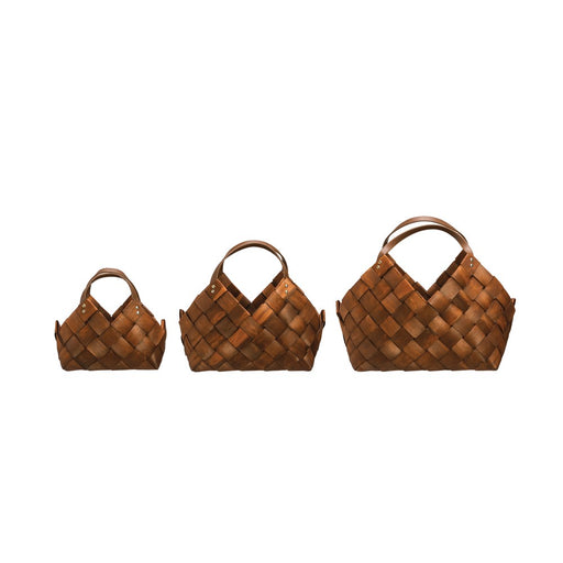 Decorative Seagrass Basket w/Leather Handles, Set of 3