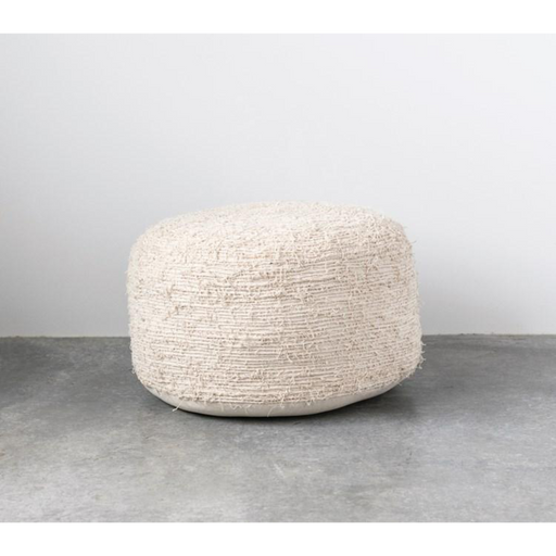 Cream Round Cotton Pouf - Greenhouse Home