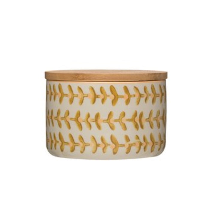 Floral Stoneware Canister