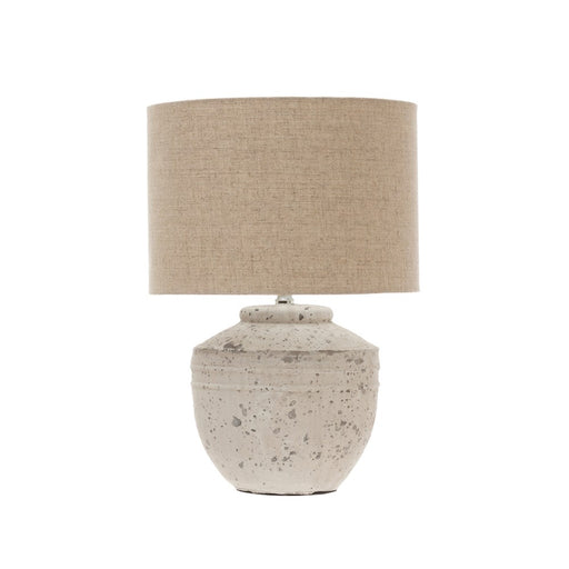 Cement Table Lamp with Linen Shade - Greenhouse Home