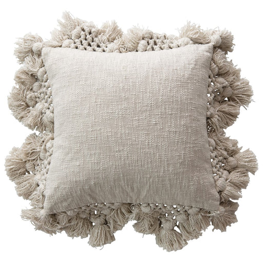 Square Cotton Slub Pillow with Crochet + Tassels - Greenhouse Home