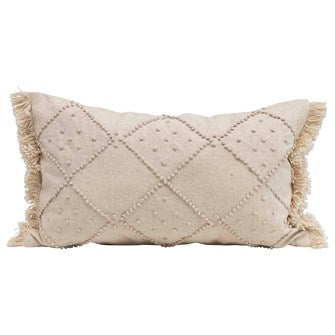 Lumbar Pillow with French Knots + Fringe - Greenhouse Home