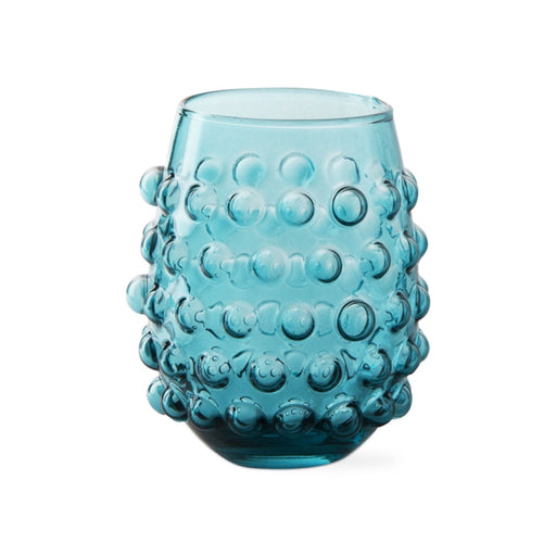 Aqua Hobnail Stemless Wine Glass - Greenhouse Home