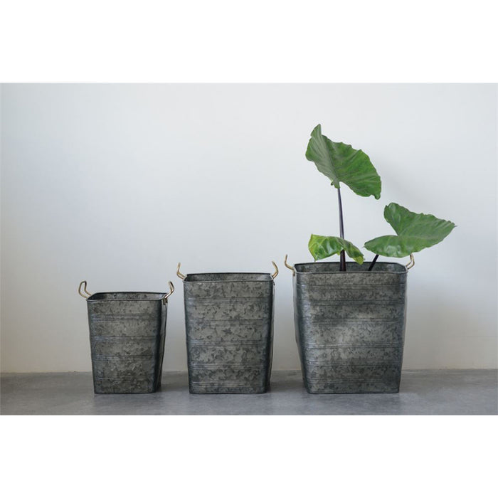 Galvanized Metal Planters - Greenhouse Home