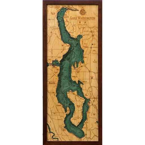 Lake Washington Nautical Wood Chart - Greenhouse Home