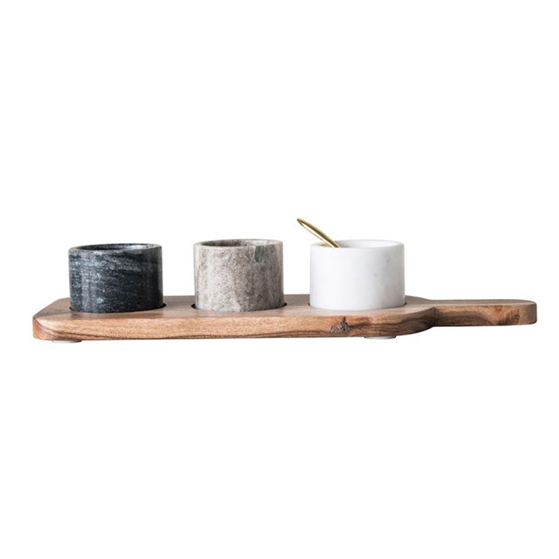 Marble Pinch Pots + Acacia Wood Board - Greenhouse Home