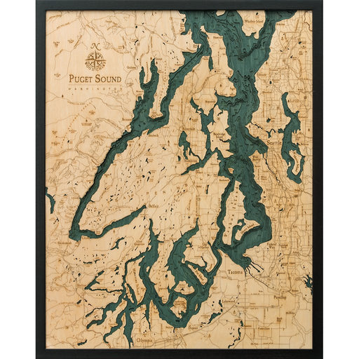 Puget Sound Nautical Wood Chart - Greenhouse Home