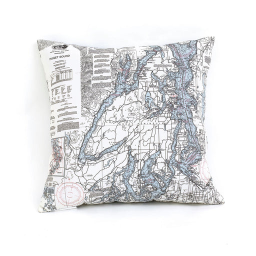 Puget Sound Nautical Chart Pillow - Greenhouse Home