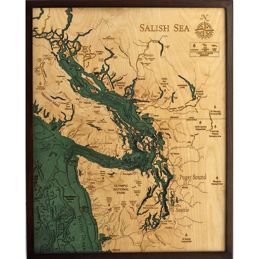 Salish Sea Nautical Wood Chart - Greenhouse Home