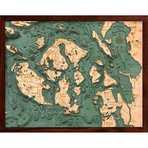 San Juan Islands Nautical Wood Chart