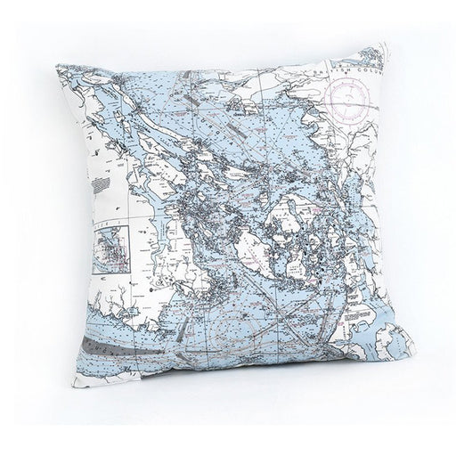 San Juan Islands Nautical Chart Pillow - Greenhouse Home