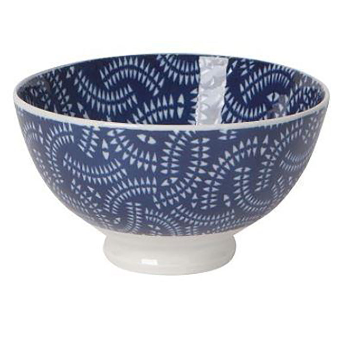 Bowl Stamped Indigo Geo - Greenhouse Home