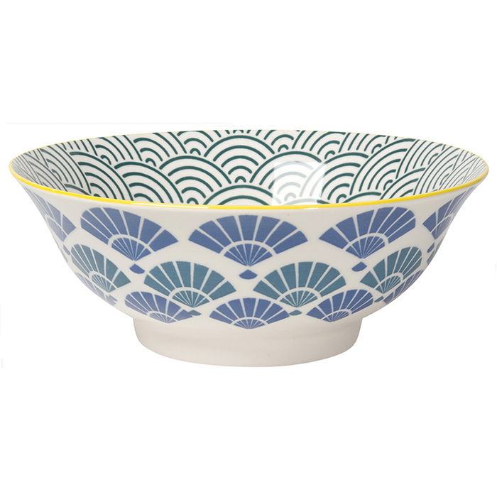 Stamped Blue Fans Bowl