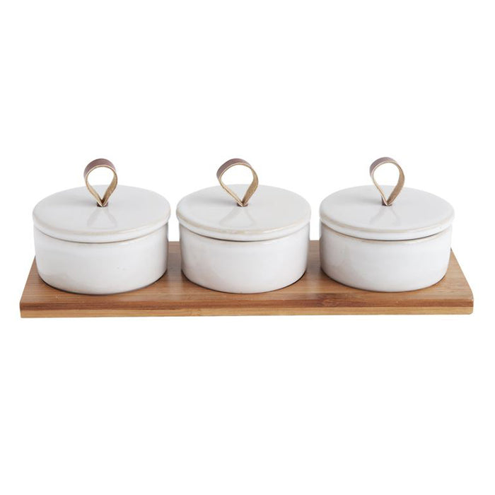 Stoneware Pinch Pots + Bamboo Tray - Greenhouse Home