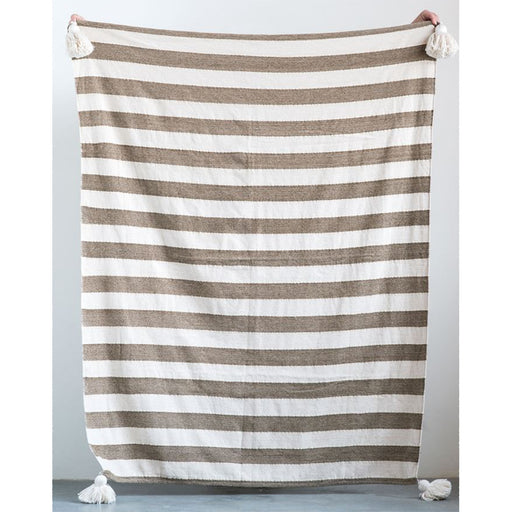 Woven Metallic Striped Throw