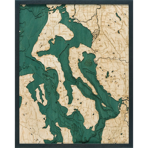 Whidbey & Camano Island Nautical Wood Chart - Greenhouse Home