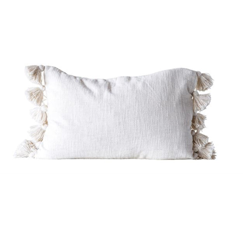 Cream Cotton Woven Slub Pillow with Plush Tassels - Greenhouse Home