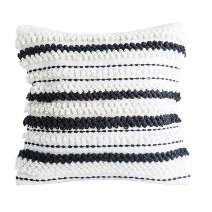 Woven Black + White Wool Pillow - Greenhouse Home