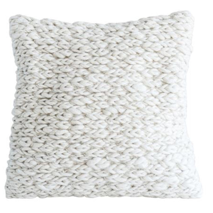 White Wool Cable Knit Pillow - Greenhouse Home