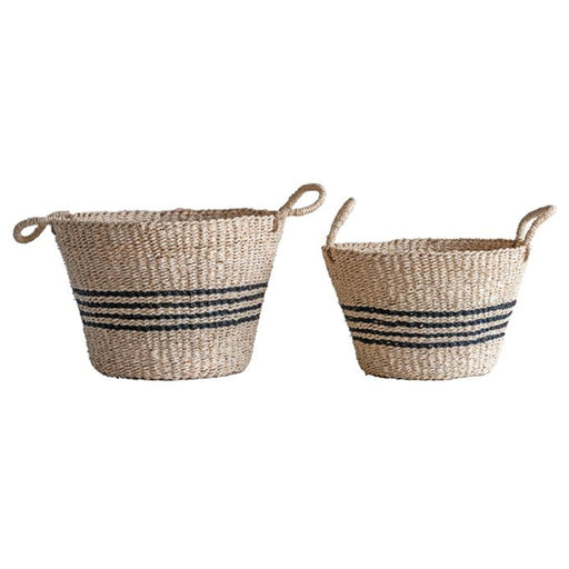 Natural Woven Palm & Seagrass Striped Baskets