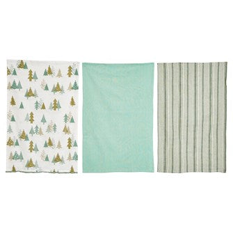 Woven Cotton Tea Towels - Set of 3 - Greenhouse Home