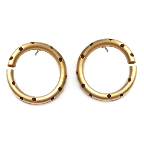 Gold Circle Earring by Barbara Cieslicki