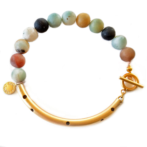 Mixed Amazonite Gold Bracelet by Barbara Cieslicki