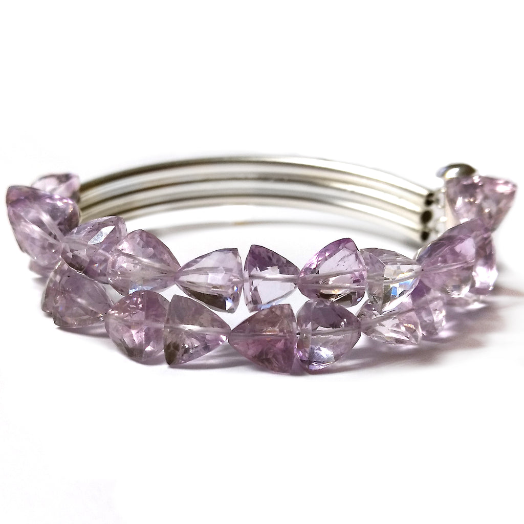 Double Pink Amethyst Trillion Bracelet by Barbara Cieslicki