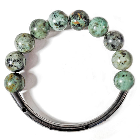 African Turquoise Hematite Bangle by Barbara Cieslicki