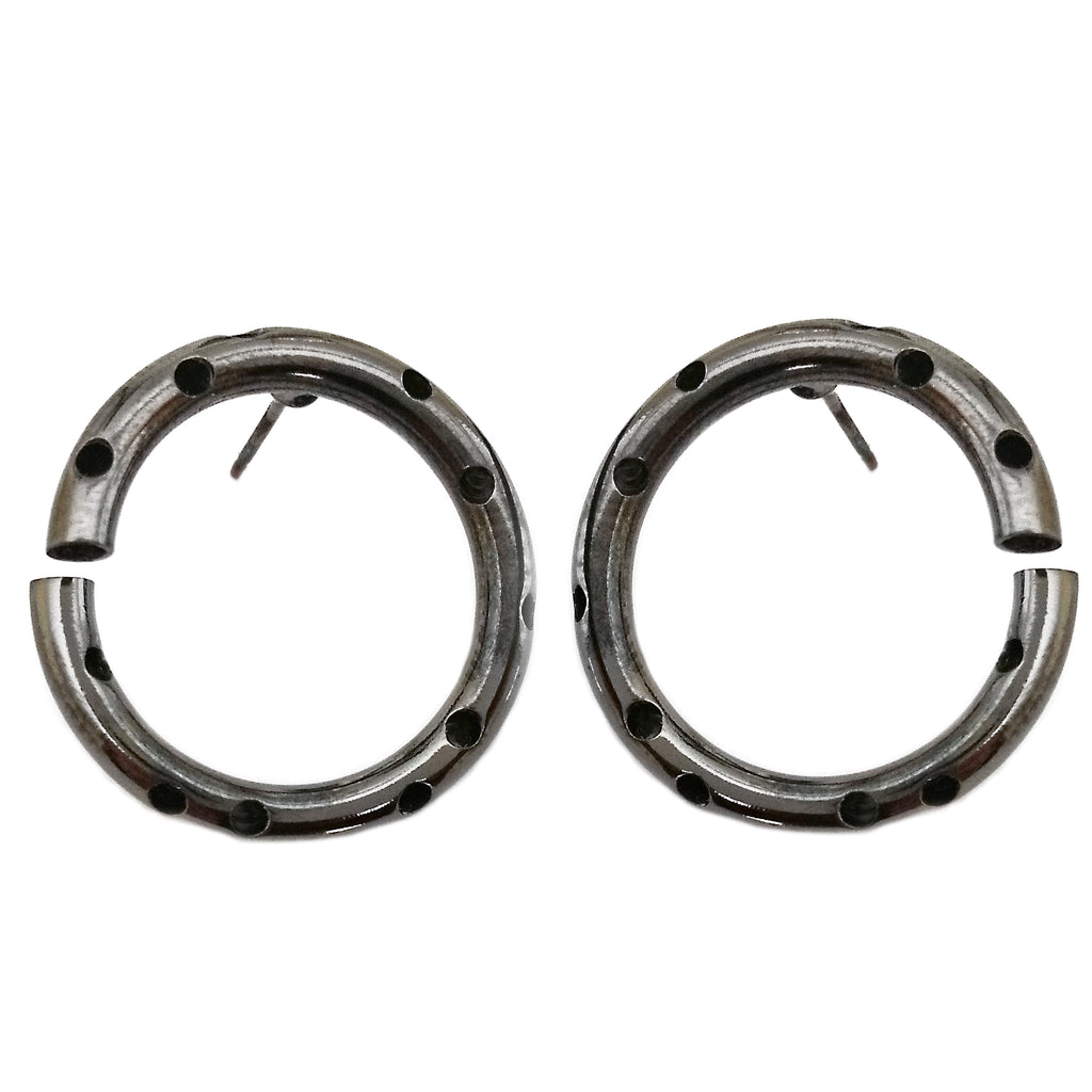 Hematite Circle Earring by Barbara Cieslicki