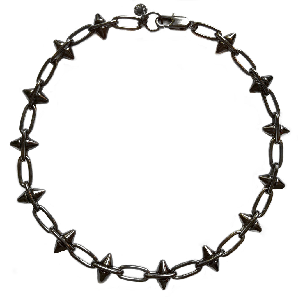 Hematite Spike Necklace by Barbara Cieslicki