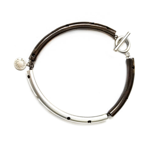 Hematite and Silver Tube Bracelet by Barbara Cieslicki