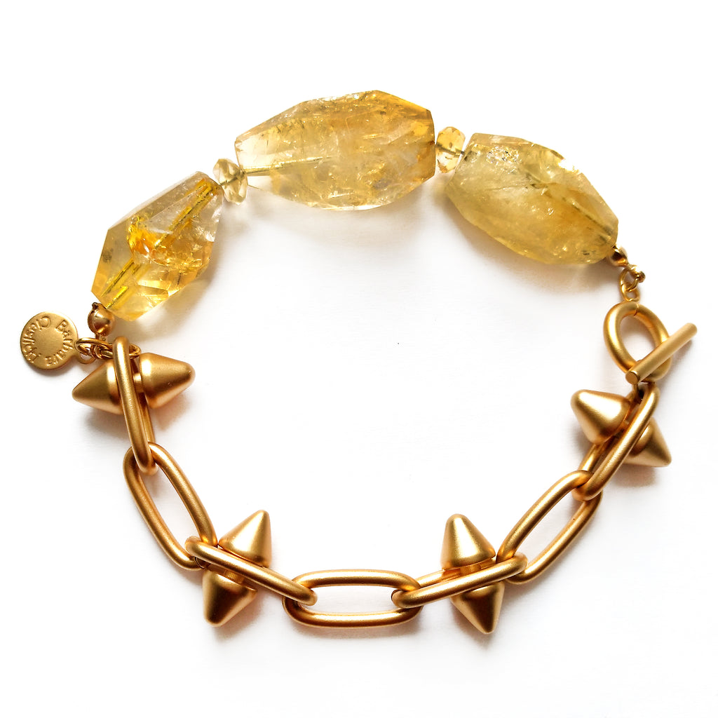 Citrine Nugget Spike Bracelet by Barbara Cieslicki