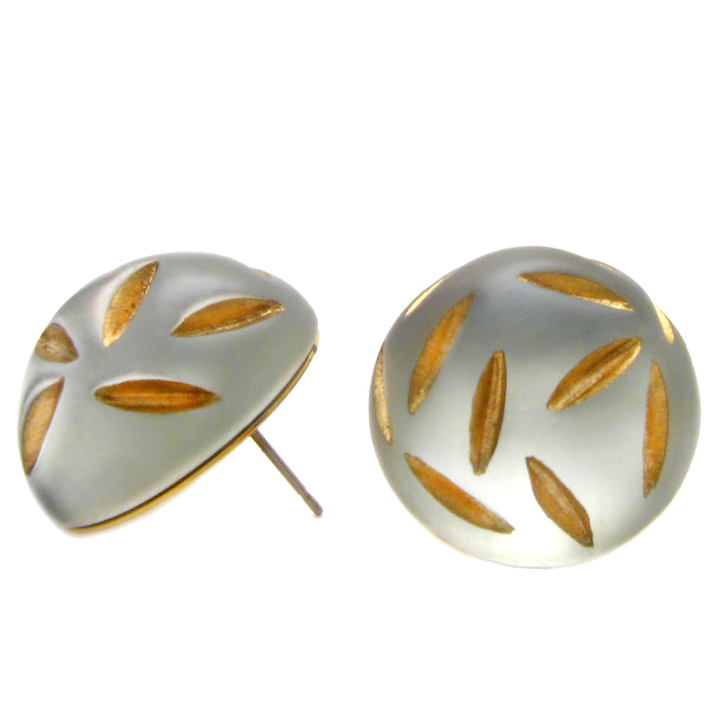 Gold Slash Clear Lucite Earring by Barbara Cieslicki