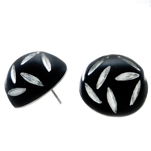 Silver Slash Black Lucite Earring by Barbara Cieslicki