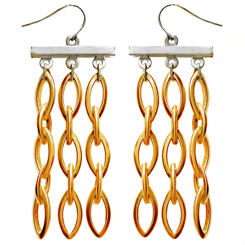 Sterling Silver and Gold Fringe Earring by Barbara Cieslicki