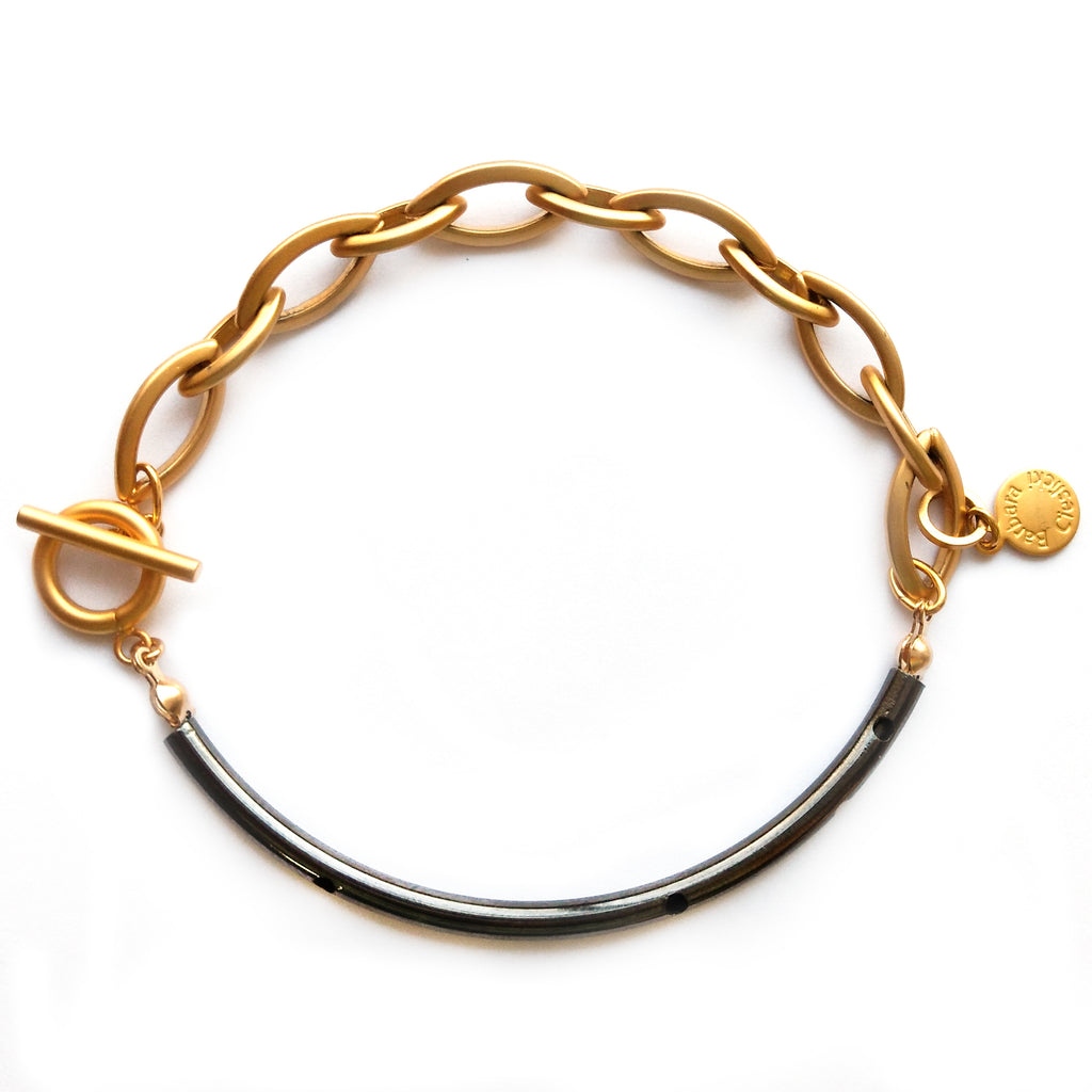 Gold Chain and Hematite Tube Bracelet by Barbara Cieslicki